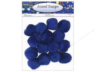 "1/2"" pom poms: Pom Pom by Accent Design 1 1/2 in. Royal 15 pc."