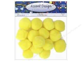 yellow pom pom: Pom Pom by Accent Design 1 1/2 in. Yellow 15 pc.