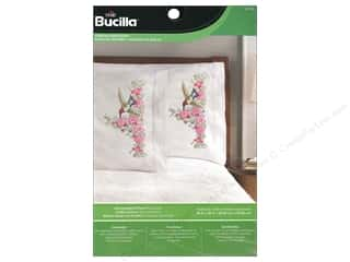 yarn & needlework: Bucilla Stamped Embroidery Pillowcase Hummingbird Floral