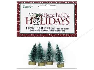 craft & hobbies: Darice Sisal Tree 1 1/2 in. Green with Frost 4 pc.