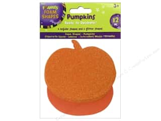 Darice Craft Foam: Darice Foamies Foam Shapes 12 pc. Pumpkin Orange/Orange Glitter