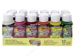 DecoArt Glow In The Dark Paint: DecoArt Crafter's Acrylic Paint 2oz Value Pack 12pc