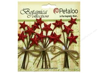 Petaloo Botanica Collection Holiday Pick Glitter Star Red