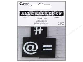 Darice Chalkboard Painted Tiles 3 pc. Hashtag/At/Equal