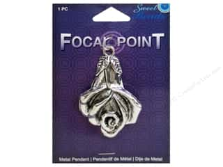 beading & jewelry making supplies: Sweet Beads EWC Focal Point Pendant Metal Lily Silver 1pc