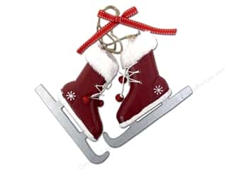 Sierra Pacific Crafts Decor Ornament Figure Skates Wine Red