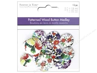 scrapbooking & paper crafts: Multicraft Buttons Wood Assorted Floral Art