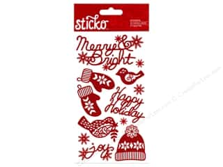 bird sticker: EK Sticko Stickers Holiday Glitter Words