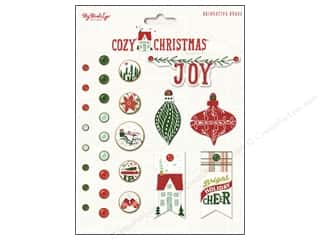 color brads: My Minds Eye Collection Cozy Christmas Deco Brads