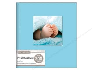 K&Company Photo Album Memo Faux Leather Stitched 2 UP Light Blue Picture