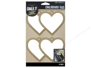 K&Company Chalk It Now Chalkboard Tags Wooden Heart White Picture