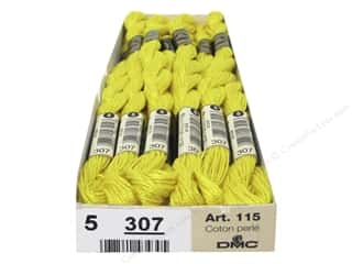 DMC Pearl Cotton Skein Size 5 #307 Lemon (12 skeins)