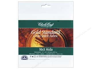 Cross Stitch Cloth / Aida Cloth: Charles Craft Gold Standard 16-count Aida Cloth 12 x 18 in. White