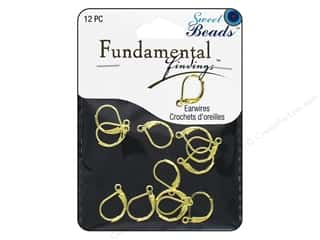 beading & jewelry making supplies: Sweet Beads Fundamental Finding Leaver Back Earring Finding 12 pc. Gold
