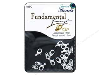 beading & jewelry making supplies: Sweet Beads Fundamental Finding Lobster Clasps 12 mm 10 pc. Silver
