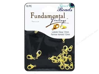 beading & jewelry making supplies: Sweet Beads Fundamental Finding Lobster Clasps 12 mm 10 pc. Gold