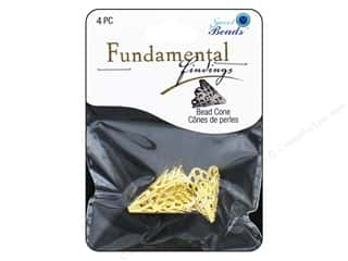 Cap  Findings / Spacer Findings: Sweet Beads Fundamental Finding Cone 16 x 20 mm Filigree Gold 4pc