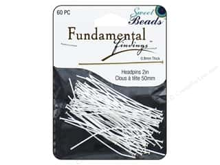 beading & jewelry making supplies: Sweet Beads Fundamental Finding Headpins 50 x .8 mm Silver 60 pc.