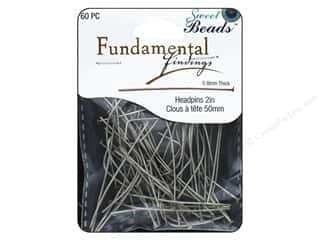 Pin Backs headpin: Sweet Beads Fundamental Finding Headpins 50 x .8 mm Antique Silver 60 pc.