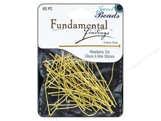 beading & jewelry making supplies: Sweet Beads Fundamental Finding Headpins 50 x .8 mm Gold 60 pc.