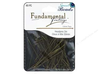 beading & jewelry making supplies: Sweet Beads Fundamental Finding Headpins 50 x .8 mm Antique Gold 60 pc.