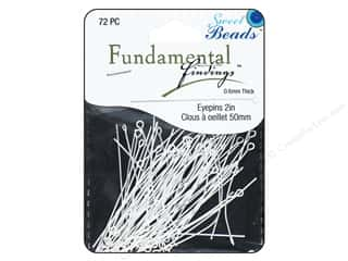 beading & jewelry making supplies: Sweet Beads Fundamental Finding Eyepins 50 x 0.6 mm 72 pc. Silver