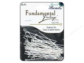 beading & jewelry making supplies: Sweet Beads Fundamental Finding Eyepins 50 x 0.8 mm 60 pc. Silver