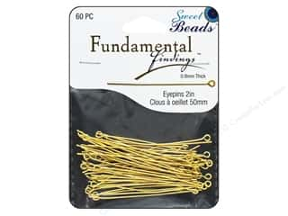 beading & jewelry making supplies: Sweet Beads Fundamental Finding Eyepins 50 x 0.8 mm 60 pc. Gold