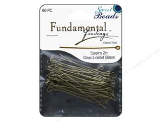 beading & jewelry making supplies: Sweet Beads Fundamental Finding Eyepins 50 x 0.8 mm 60 pc. Antique Gold