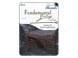 beading & jewelry making supplies: Sweet Beads Fundamental Finding Eyepins 50 x 0.8 mm 60 pc. Antique Copper