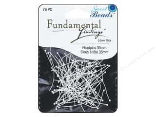 beading & jewelry making supplies: Sweet Beads Fundamental Finding Headpins 35 x .5 mm Silver 76 pc.