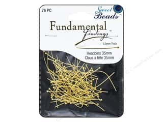 beading & jewelry making supplies: Sweet Beads Fundamental Finding Headpins 35 x .5 mm Gold 76 pc.