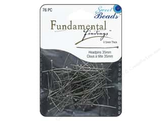 beading & jewelry making supplies: Sweet Beads Fundamental Finding Headpins 35 x .5 mm Antique Silver 76 pc.