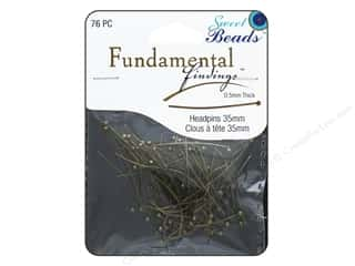 beading & jewelry making supplies: Sweet Beads Fundamental Finding Headpins 35 x .5 mm Antique Gold 76 pc.