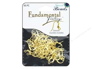 beading & jewelry making supplies: Sweet Beads Fundamental Finding Earwire with Bead Gold 60pc