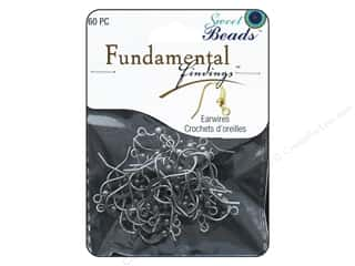 beading & jewelry making supplies: Sweet Beads Fundamental Finding Earwire with Bead Antique Silver 60pc