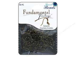 craft & hobbies: Sweet Beads Fundamental Finding Earwire with Bead Antique Gold 60pc