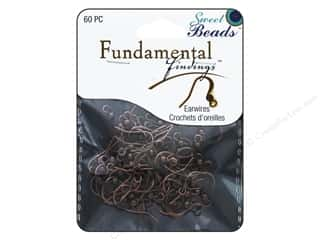 beading & jewelry making supplies: Sweet Beads Fundamental Finding Earwire with Bead Antique Copper 60pc