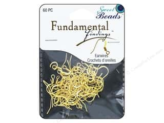 beading & jewelry making supplies: Sweet Beads Fundamental Finding Earwire with Coil 60 pc. Gold