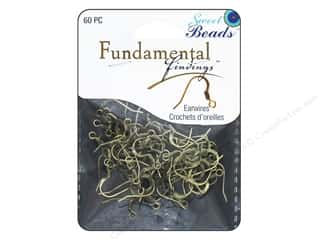 craft & hobbies: Sweet Beads Fundamental Finding Earwire with Coil 60 pc. Antique Gold