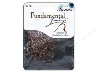 beading & jewelry making supplies: Sweet Beads Fundamental Finding Earwire with Coil 60 pc. Antique Copper
