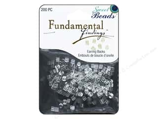 beading & jewelry making supplies: Sweet Beads Fundamental Finding Earnuts Plastic Clear 200pc