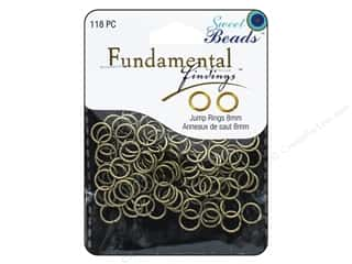beading & jewelry making supplies: Sweet Beads Fundamental Finding Jump Rings 8 mm Antique Gold 118 pc.