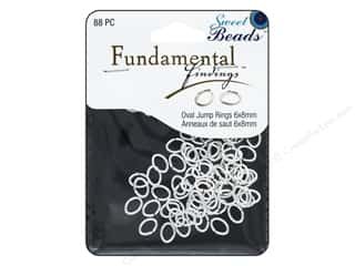 beading & jewelry making supplies: Sweet Beads Fundamental Finding Oval Jump Rings 8 x 6 mm Silver 88 pc.