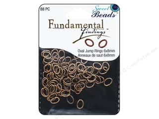 beading & jewelry making supplies: Sweet Beads Fundamental Finding Oval Jump Rings 8 x 6 mm Antique Copper 88 pc.