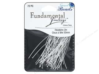 beading & jewelry making supplies: Sweet Beads Fundamental Finding Headpins 50 x .6 mm Silver 72 pc.