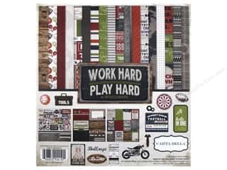 stickers: Carta Bella 12 x 12 in. Collection Kit Work Hard Play Hard