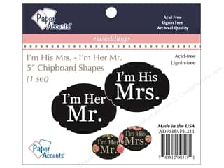 Paper Accents Chipboard Shape I'm His Mrs./I'm Her Mr. 1 Set Black
