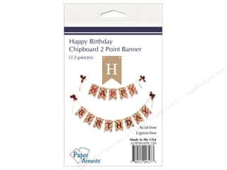 Paper Accents Chipboard Banner Happy Birthday 13 pc. Kraft