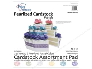 Papers: Paper Accents 12 x 12 in. Cardstock Pad 24 pc. Pearlized Pastels